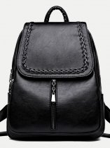 Zipper Front Large Leather Backpack