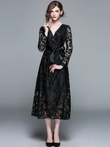Black Lace Long Formal Dress