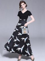 V Neck Retro Slim Printing Long Evening Dress