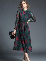 Stand Collar Lace Flowers Pattern Long Slim Evening Dress