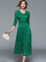 Elegant Solid Color V Neck Lace Long Evening Dress