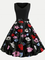 V Neck Floral Printing Lacing Decor Tank Skater Dress