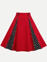 Vinfemass Retro Polka Dots Printed Patchwork Buttons Decor Midi Skirt