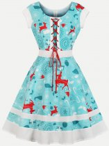 60s Blue Christmas Print Lacing Swing Dress