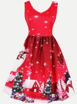 60s Christmas Print Sleeveless Swing Dress
