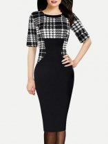 Black Plaid Bodycon Work Pencil Dress