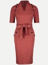 Solid Lacing Fitted Work Pencil Dress
