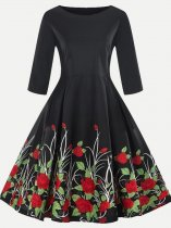 Vinfemass Retro Printing Plus Size Skater Dress