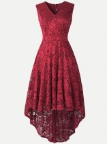 Lace Overlay High Low Sleeveless Dress