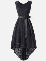 Guipure High Low Sleeveless Lace Dress