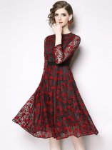 Red Long Sleeve Lace Party Dress