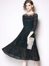 Solid Lace Formal Party Dress