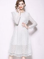 Solid Lace Long Sleeve Party Dress