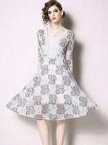 Retro Embroidery Flowers Lace Slim Party Skater Dress
