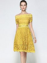 Boat Neck Solid Color Lace Hollow Party Dress