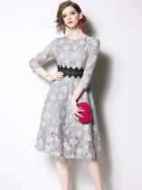 Embroidered Lace Formal Party Dress