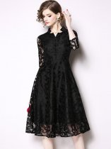 Black Lace Formal Party Dress
