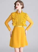 Yellow Lace Patchwork Party Dress