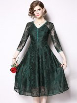 Retro Buttonhole Loops V Neck Solid Lace Party Dress