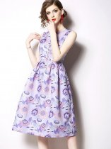 Retro Floral Printing Sleeveless A Line Party Dress