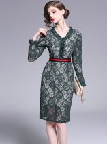 Green Bodycon Lace Party Dress