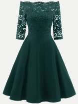 Boat Neck Lace Basic Long Party Skater Dress