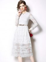 White Belted Lace Party Dress