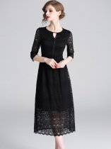 Black Lace Midi Formal Dress