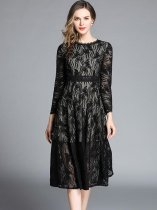 Black Embroidered Lace Cocktail Dress