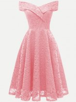 Boat Neck Guipure Lace Overlay Dress