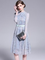 Solid Color Stand Collar Belt Decor Lace Party Dress