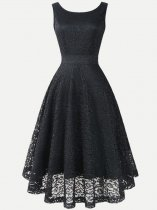 Back V Neck Solid Color Lace Sleeveless Party Cocktail Skater Dress