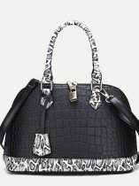 Snakeskin Croc Pattern Shoulder Bag