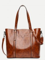 Solid Buckle Large Tote Bag