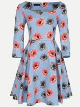 Vinfemass Square Collar Retro Floral Printing Cotton Short Plus Size Skater Dress