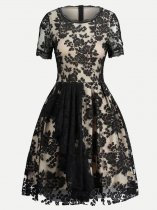 Vinfemass Solid Color Embroidery Flowers Lace Party Cocktail Dress