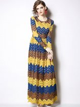 Retro Strpes Printing Color Block Lace Hollow Long Evening Dress