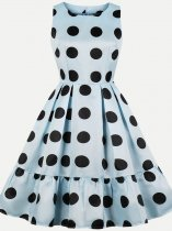 Vinfemass Polka Dots Printing Sleeveless Plus Size Skater Dress