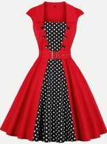 60s Red Polka Dots Belted Swing Dress