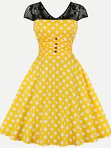 60s Yellow Polka Dots Lace Swing Dress