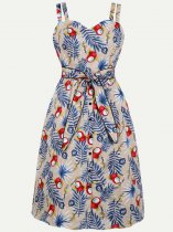 60s Floral Print Lacing Slip Pencil Dress