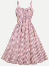 60s Pink Plaid Sleeveless Slip Swing Dress