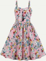 Vinfemass Retro Floral Printing Bowknot Sleeveless Tank Plus Size Skater Dress