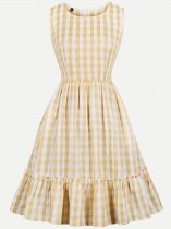 Vinfemass Retro Grid Printing Sleeveless Tank Plus Size Skater Dress