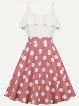 Vinfemass Retro Polka Dots Printing Color Block Sleeveless Strap Plus Size Skater Dress