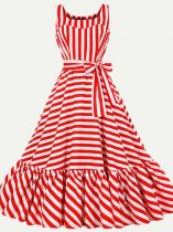 Stripes Printing Lacing Decor Sleeveless Plus Size Skater Dress
