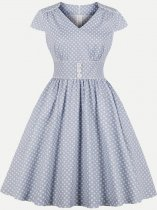 Vinfemass Retro V Neck Polka Dots Printing Plus Size Skater Dress