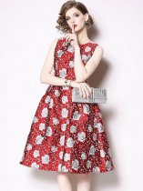 Jacquard Sleeveless Party Skater Dress