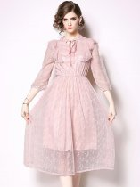 Pink Ruffle Lace Party Dress