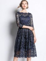 Navy Embroidered Lace Prom Dress